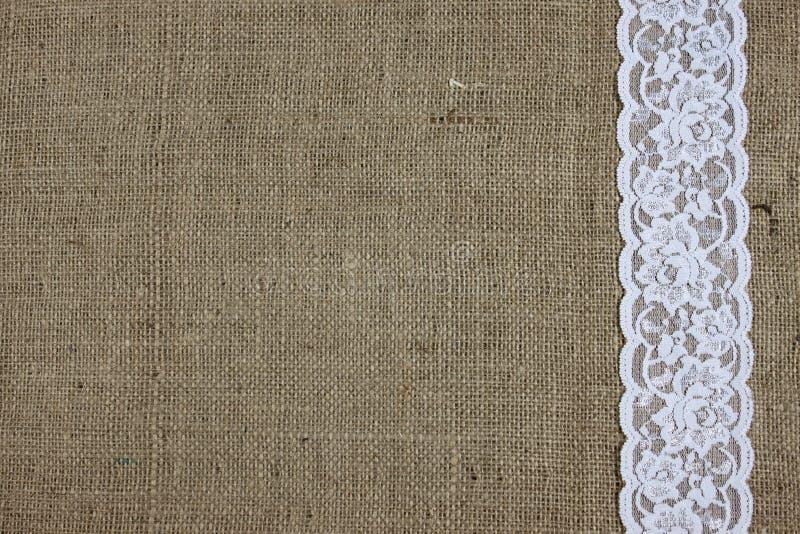 Säckväv och snör åt textur royaltyfri bild