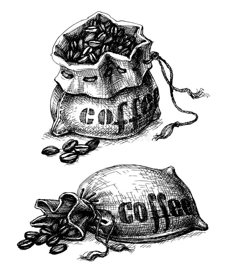 Säckvävkaffesäck royaltyfri illustrationer
