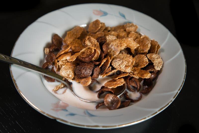 Sädesslag flagar för frukost i en platta med mjölkar arkivbilder