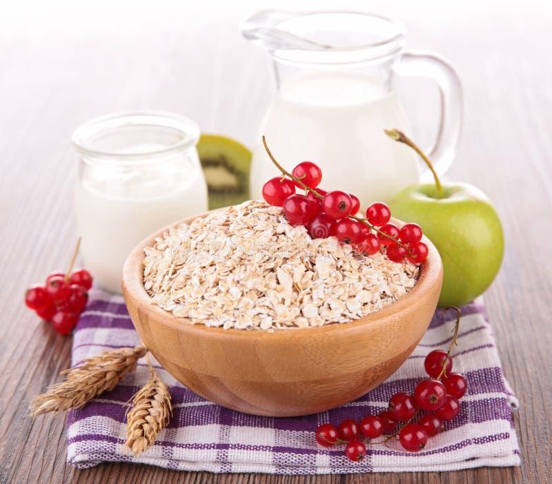 Sädesslag med frukt och mjölkar royaltyfri bild