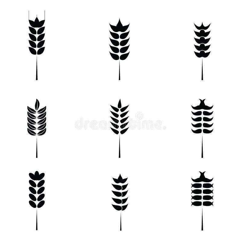 Sädesslagsymbolsuppsättning med ris, vete royaltyfri illustrationer