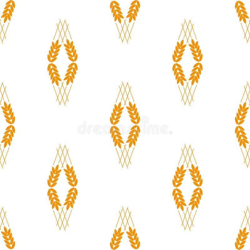 Sädesslagsymbolsuppsättning med ris, vete, havre, havre, råg, sömlös modell för kornsymbol på vit bakgrund Öron av vete vektor illustrationer