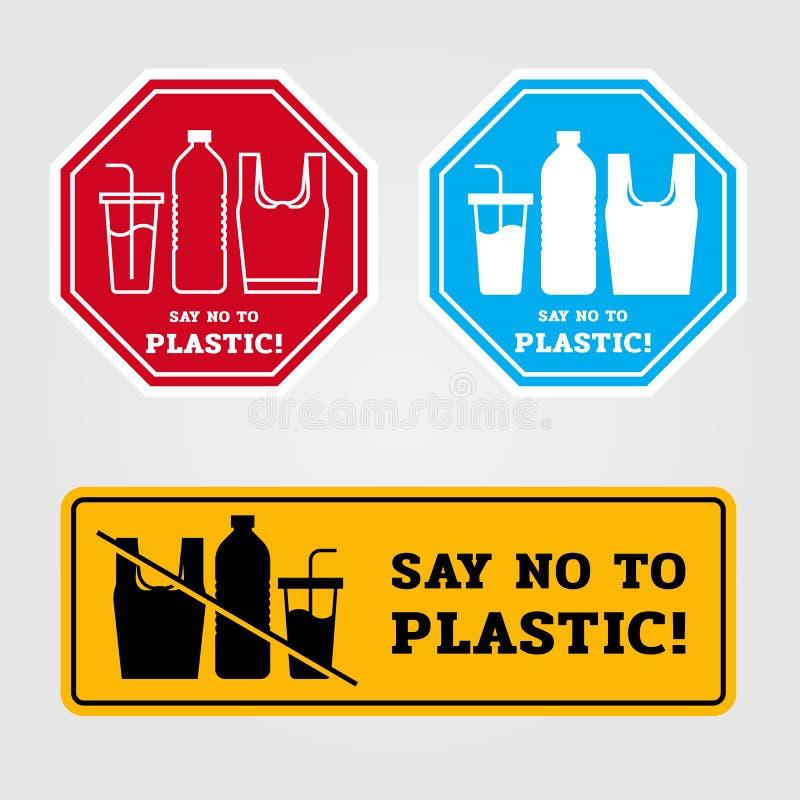 Säg att inte till det plast- banret med påseglasflaskan som göras av plast- undertecknar in för stilvektor för baner 3 design stock illustrationer