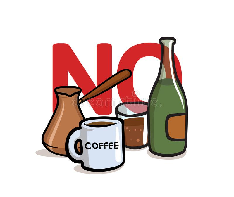 Säg inte till alkohol och koffein Alkohol koffein frigör Plan vektorillustration bakgrund isolerad white vektor illustrationer