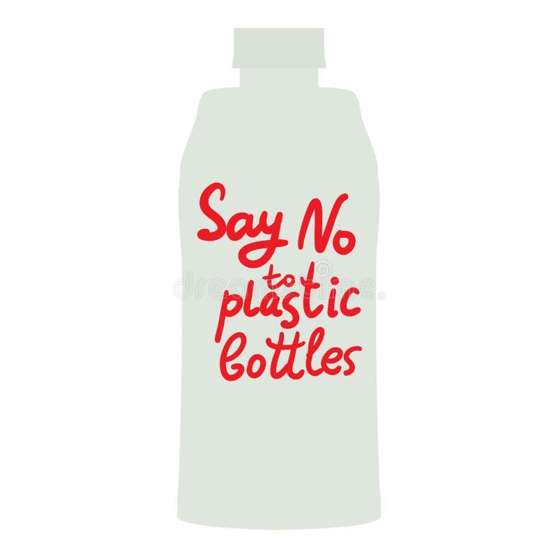 Säg inte till plast- flaskor Röd text, kalligrafi, bokstäver, klotter vid handen som isoleras på vit Eco ekologi också vektor för vektor illustrationer