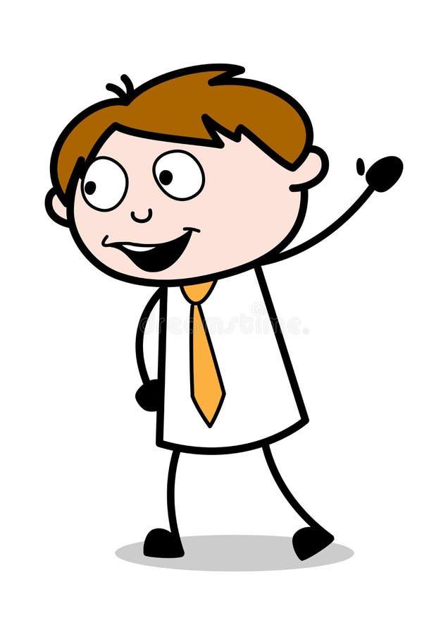 Säga Hellohandgesten - kontorsrepresentantEmployee Cartoon Vector illustration royaltyfri illustrationer