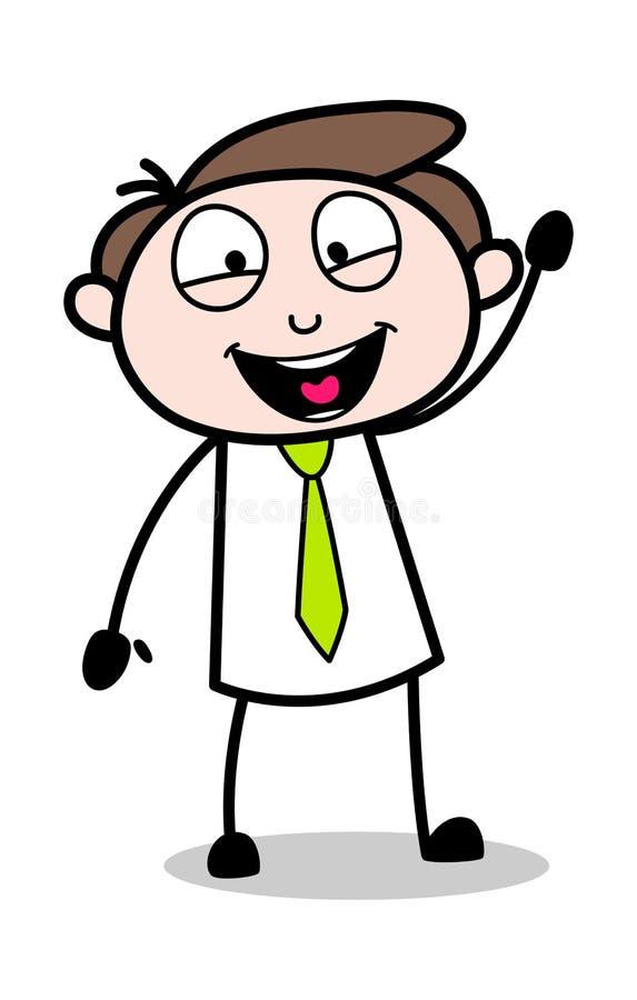 Säga Hi handgesten - kontorsaffärsmanEmployee Cartoon Vector illustration royaltyfri illustrationer