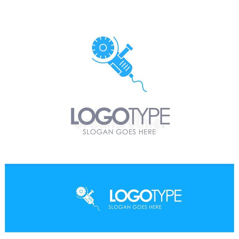 Säge, Kreissäge, Energie, Werkzeug, Blatt-blaues festes Logo mit Platz für Tagline vektor abbildung