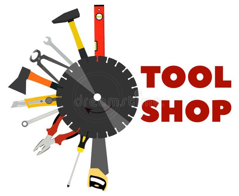 Säge, Zangen, Äxte und andere Werkzeuge für Bau und Reparatur stock abbildung