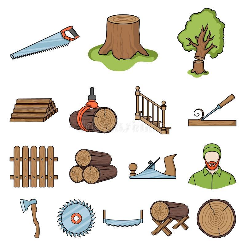 Sägemühlen- und Bauholzkarikaturikonen in der Satzsammlung für Design Hardware und Werkzeuge vector Netzillustration des Symbols  stock abbildung
