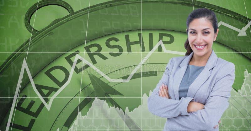Säker affärskvinna med armar som korsas mot ledarskapklockan vektor illustrationer