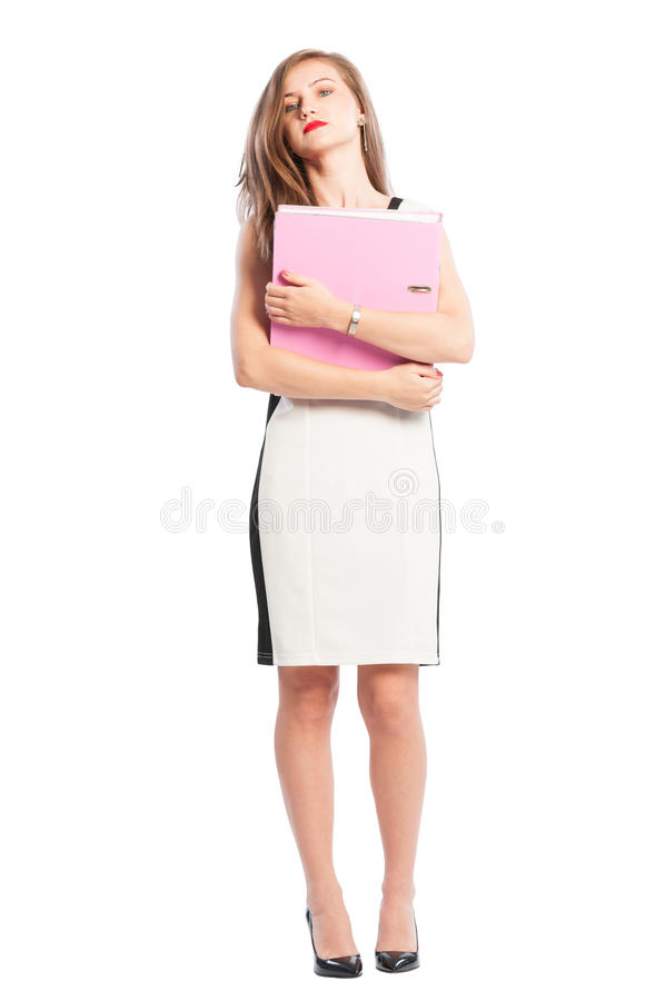 Säker affärskvinna som rymmer en portfölj arkivbilder
