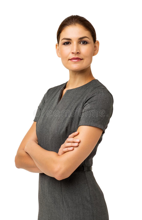 Säker affärskvinna Standing Arms Crossed fotografering för bildbyråer