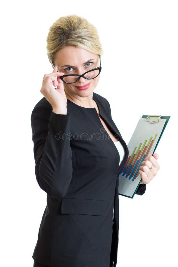 Säker affärskvinna weared rymma för glasögon arkivfoto