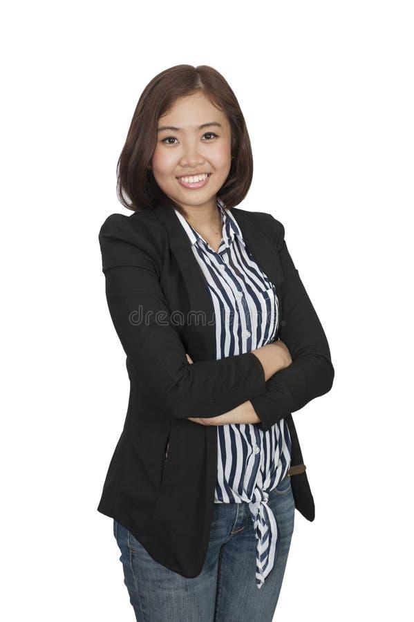Säker asiatisk affärskvinna, closeupstående på vit backgr arkivbild