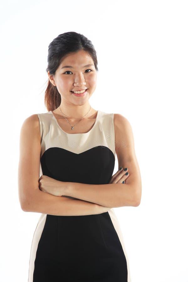 Säker asiatisk student royaltyfria bilder
