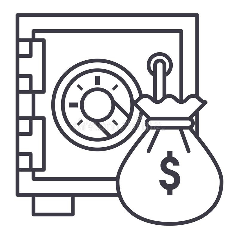 Säker bank med linjen symbol, tecken, illustration för pengarpåsevektor på bakgrund, redigerbara slaglängder royaltyfri illustrationer