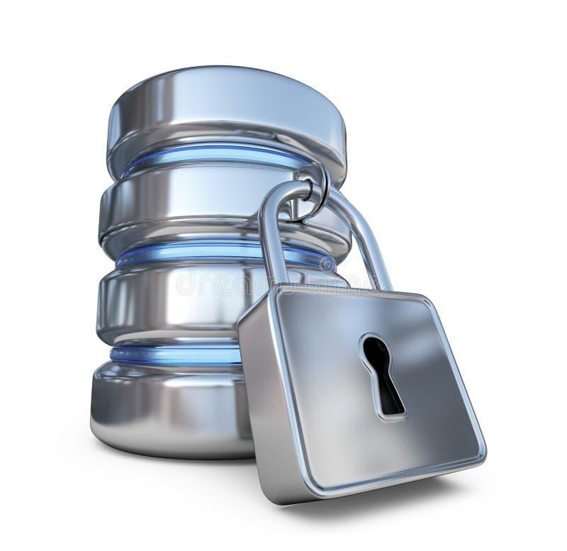 Säker databas Skydda lagringsdata symbol 3d royaltyfri illustrationer