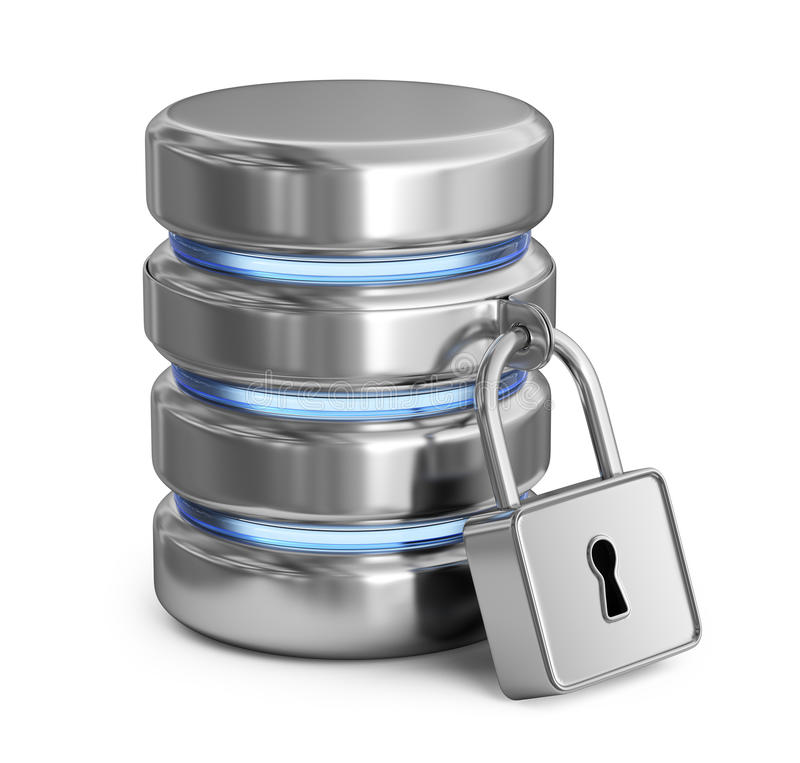 Säker databas Skydda lagringsdata symbol 3d vektor illustrationer