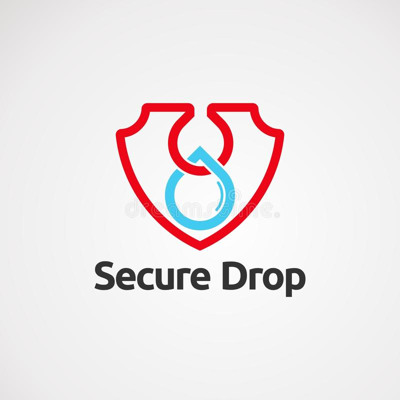 Säker dropplogovektor med den enkla handlag, symbolen, beståndsdelen och mallen för företag royaltyfri illustrationer