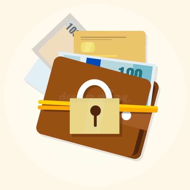 Säker finansiell plånbok för pengarskyddssäkerhet stock illustrationer