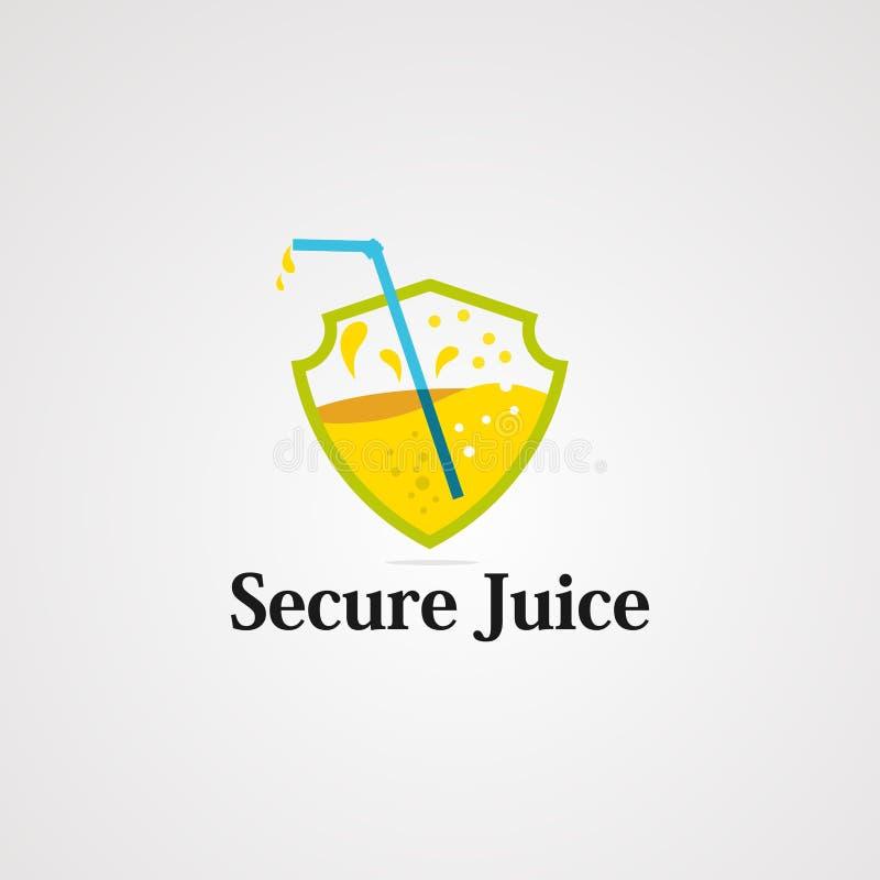 Säker fruktsaftlogovektor, symbol, beståndsdel och mall stock illustrationer