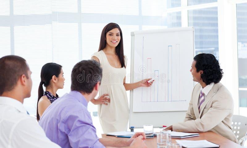 säker görande presentation för affärskvinna arkivbilder