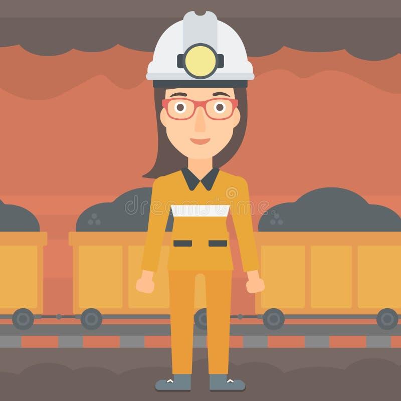 Säker gruvarbetare i hardhat stock illustrationer