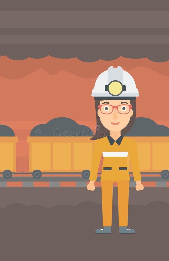 Säker gruvarbetare i hardhat royaltyfri illustrationer