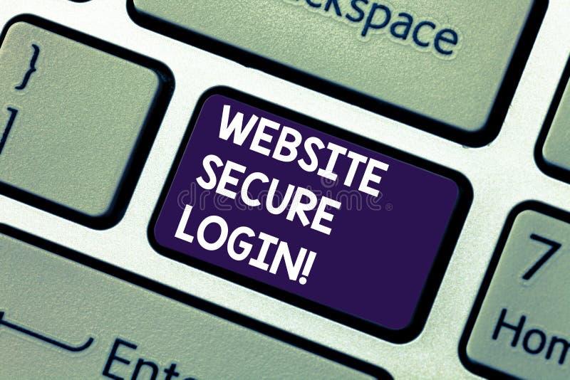 Säker inloggning för begreppsmässig Website för handhandstilvisning Att ställa ut för affärsfoto använder SSL för att koda använd arkivfoton