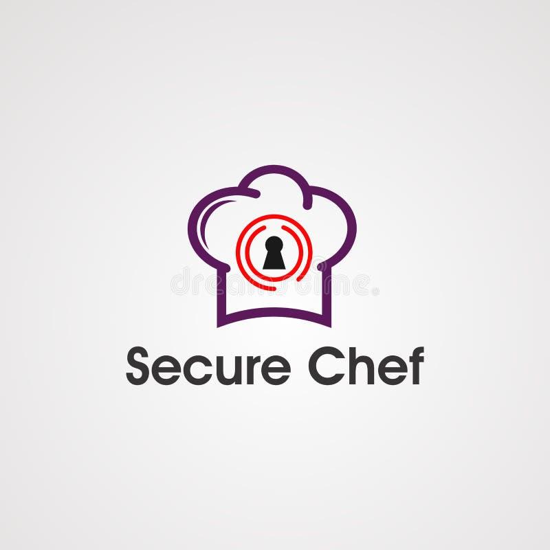 Säker kock med begrepp, symbolen, beståndsdelen och mallen för vektor för logo för huvudkock för företag royaltyfri illustrationer