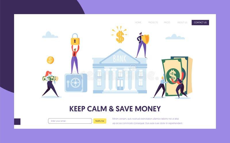 Säker kontant landa sida för bankinsättning Sparande pengarWebsitebegrepp Intäkt för tillväxt för finansekonomiinvestering royaltyfri illustrationer