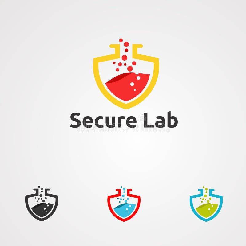Säker labblogovektor, symbol, beståndsdel och mall för företag royaltyfri illustrationer