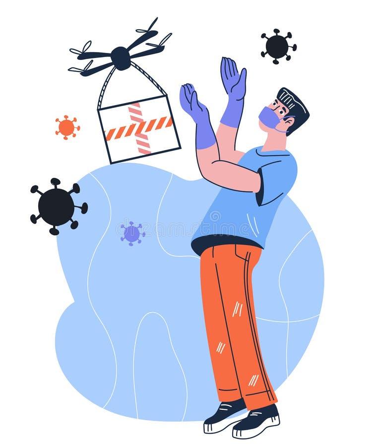 Säker leverans utan kontakt av drönare under en epidemi av coronavirusbanderoll med människa royaltyfri illustrationer