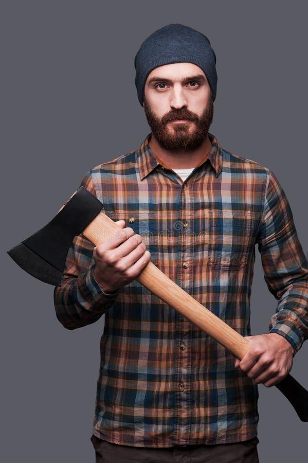 säker lumberjack royaltyfri bild
