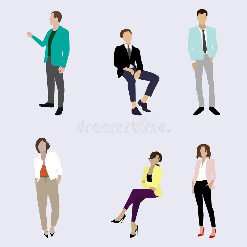Säker man och kvinna för affärsfolk stock illustrationer
