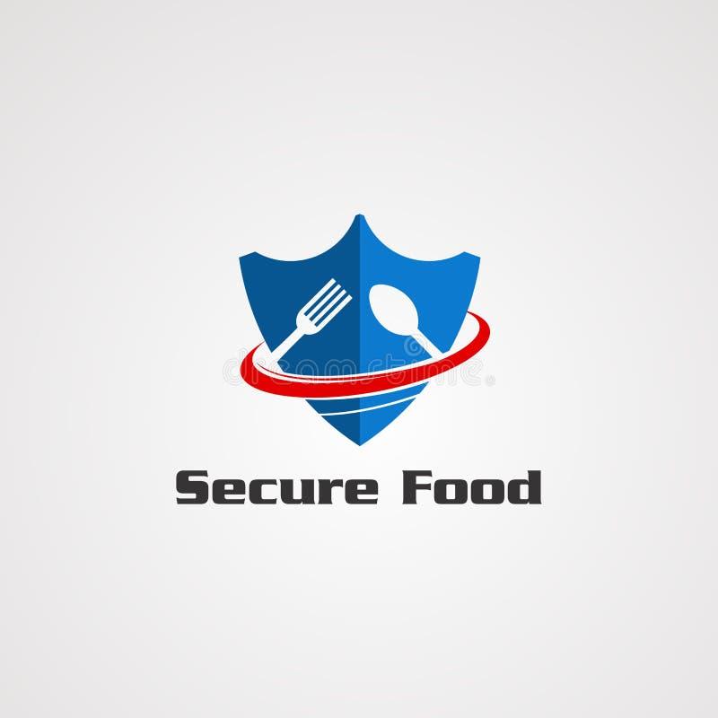 Säker mat med blått att skydda begrepp för sked- och gaffellogovektor, symbolen, beståndsdelen och mallen för företag royaltyfri illustrationer