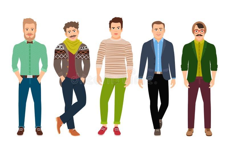 Säker modeman i tillfällig kläder stock illustrationer