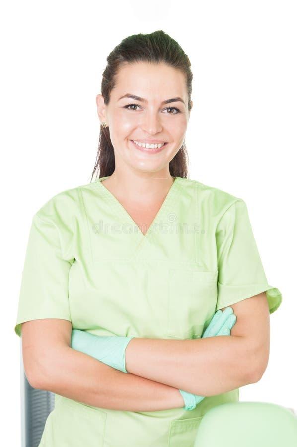 Säker och vänlig tandläkare royaltyfria bilder