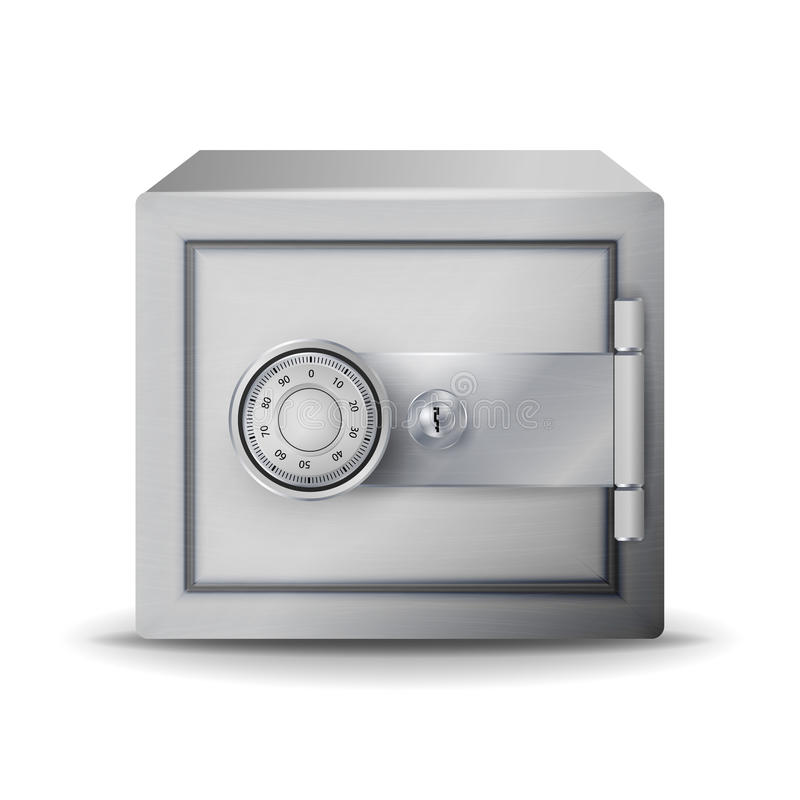 Säker realistisk vektor för metall Säker Deposit illustration 3D av ett kassaskåp eller en säkerhetsinsättningask i den nyckel- k vektor illustrationer