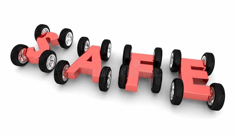 Säker säkerhet för bilförsäkring för körning för ordhjulbilar varnar 3d I stock illustrationer