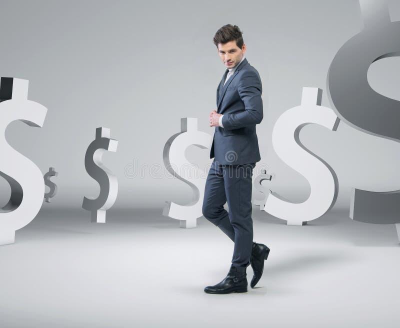 Säker stilig man bland pengarna stock illustrationer