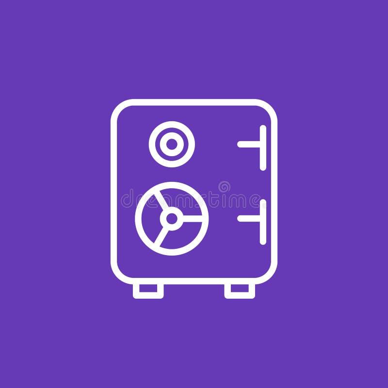 Säker symbol, linjär pictogram för kassaskåp vektor illustrationer