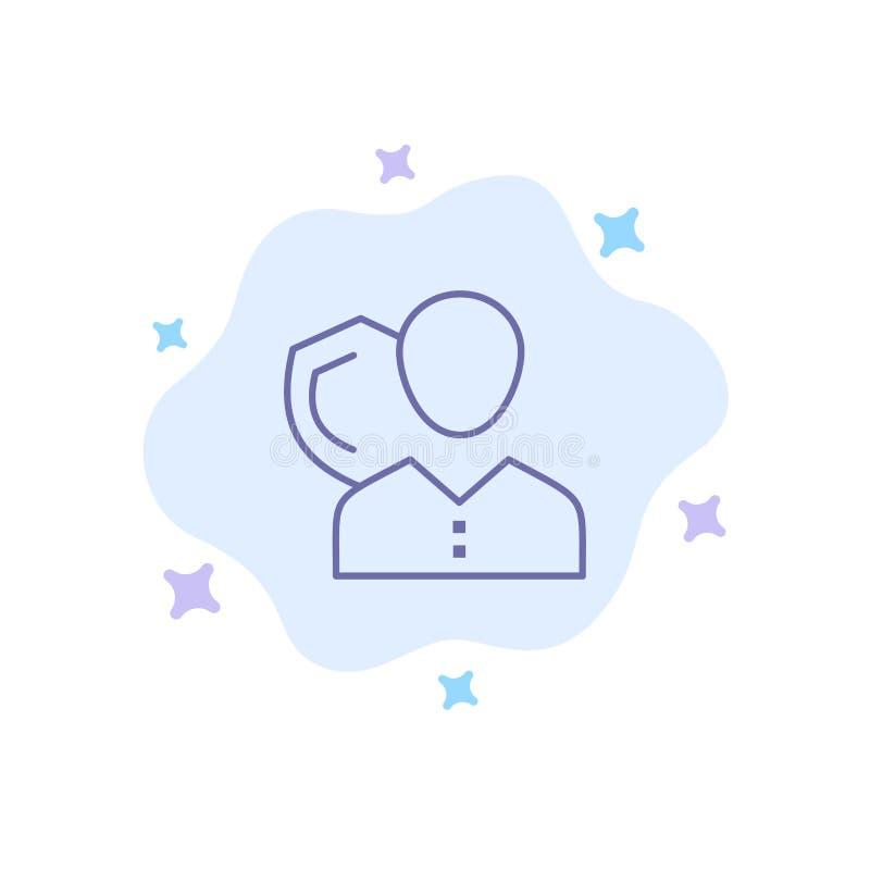 Säkerhet anställd, försäkring, person som är personlig, skydd, blå symbol för sköld på abstrakt molnbakgrund vektor illustrationer