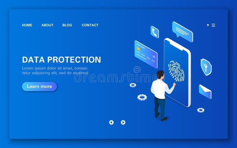 Säkerhet av mobila data för användare genom att använda personlig IDteknologi stock illustrationer