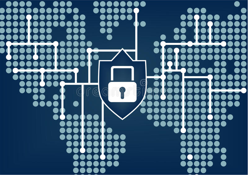 It-säkerhet för att den globala organisationen ska förhindra data och som knyter kontakt brytningar royaltyfri illustrationer