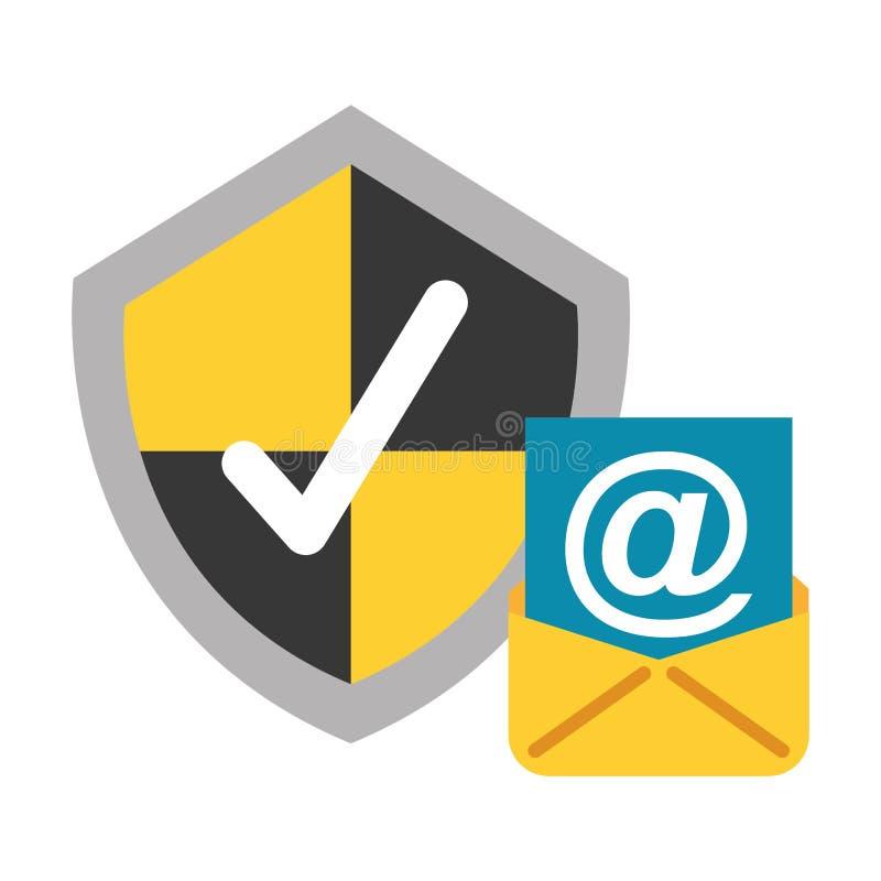 Säkerhet för data för fläck för kontroll för Emailsköldskydd vektor illustrationer