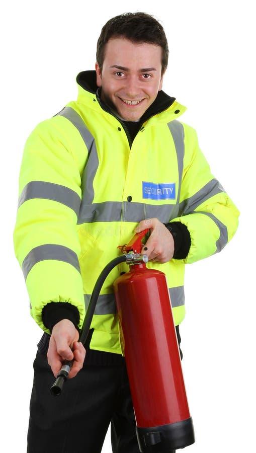 säkerhet för eldsläckarebrandguard royaltyfria bilder