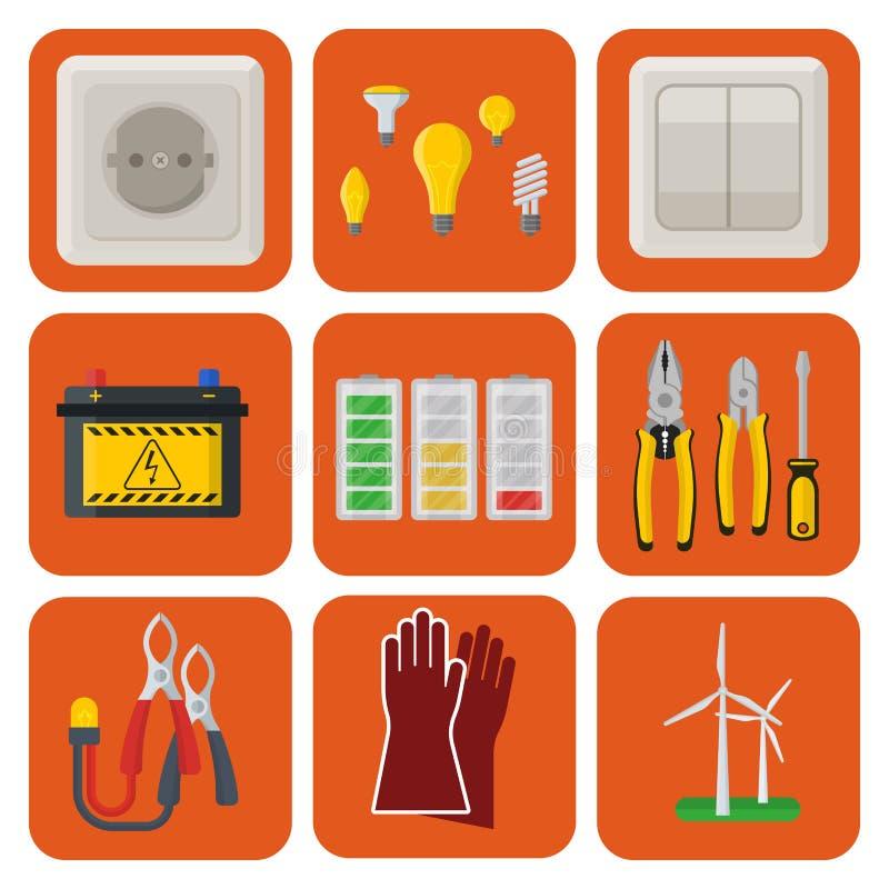 Säkerhet för fabrik för elektricitet för spänning för elektriker för illustration för batteri för symboler för makt för energiele royaltyfri illustrationer