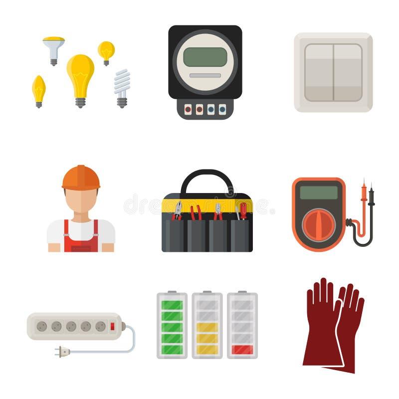Säkerhet för fabrik för elektricitet för spänning för elektriker för illustration för batteri för symboler för makt för energiele vektor illustrationer